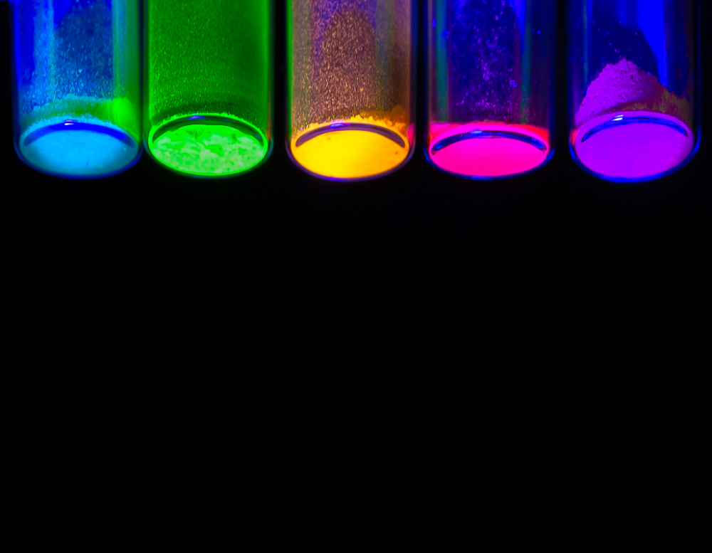 5 Vials from below containing Fluorescent Perovskite Material